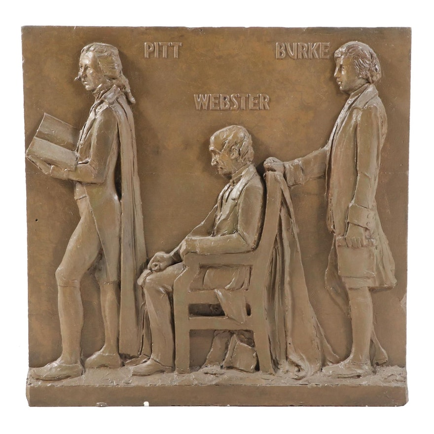 Cast Plaster Wall Plaque with Pitt, Webster, and Burke