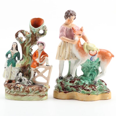 Victorian Staffordshire Ceramic Girl and Boy on Gate Spill Vase and Figurine