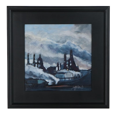 "Jay Wilford Oil Painting ""Blast Furnace,"" 21st Century"