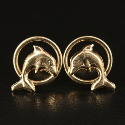 14K Jumping Dolphin Stud Earrings