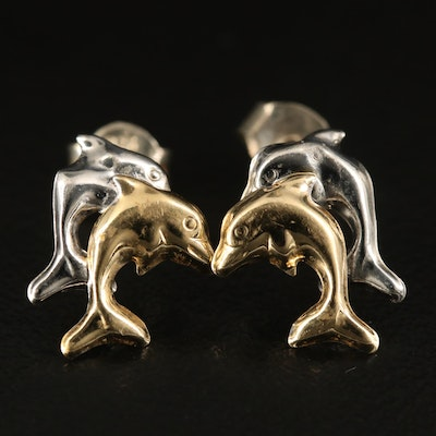 14K Two-Tone Double Dolphin Stud Earrings