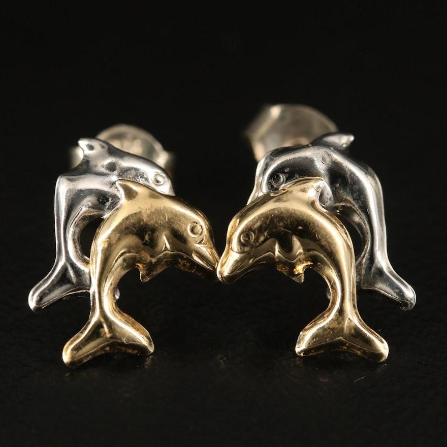 14K Two-Tone Double Dolphin Stud Earrings