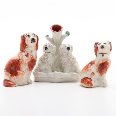 Staffordshire Rust Spaniel Figurines with William Kent Poodle Pen Holder