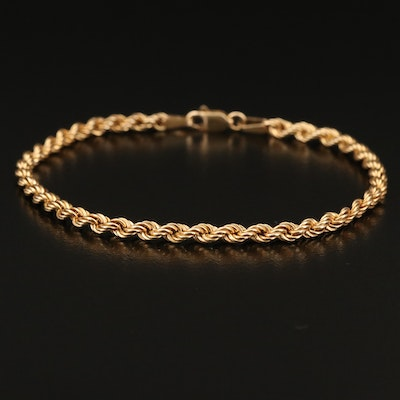 10K French Rope Chain Bracelet
