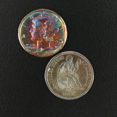 1886 Liberty Seated Proof Toned Silver Dime and 1943 Mercury Toned Silver Dime