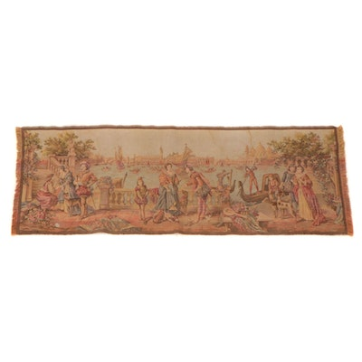 Machine Woven Belgian Tapestry of a Venetian Scene, Early to Mid-20th Century