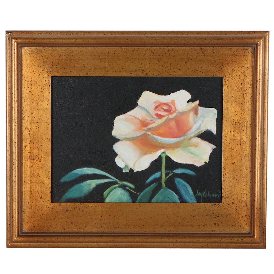 """Jay Wilford Oil Painting """"Yellow Rose,"""" 21st Century"""