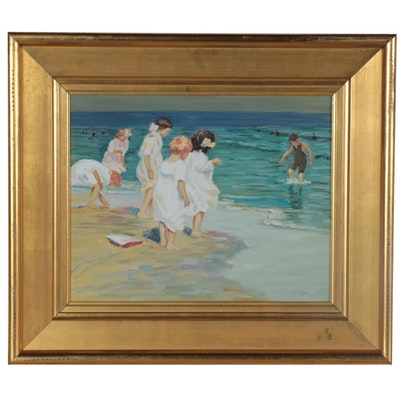 Oil Painting after Edward Potthast of Children Playing at the Beach