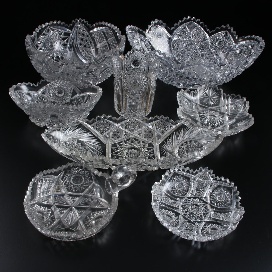 American Brilliant Cut and Pressed Glass Serveware, Late 19th/Early 20th C