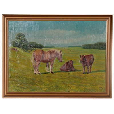 Oil Painting of Horse and Cows in Pasture, Late 20th Century