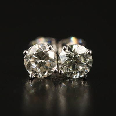14K 1.85 CTW Diamond Stud Earrings with GIA eReports