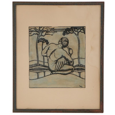 Mixed Media Painting of Abstract Figure, Early 20th Century