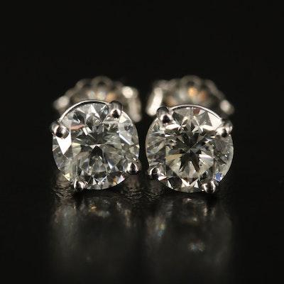 Platinum 2.01 CTW Diamond Stud Earrings with GIA eReports