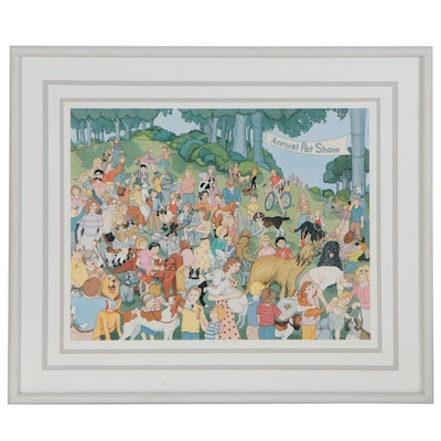 """Frances Greenberg Offset Lithograph """"Annual Pet Show,"""" Late 20th Century"""