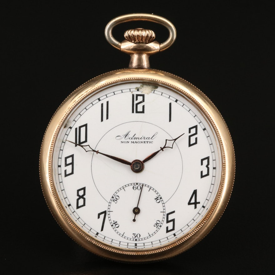 Vintage Admiral Gold Filled Open Face Pocket Watch