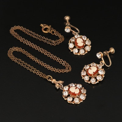 Vintage Rhinestone Cameo Necklace and Screw Back Earring Set