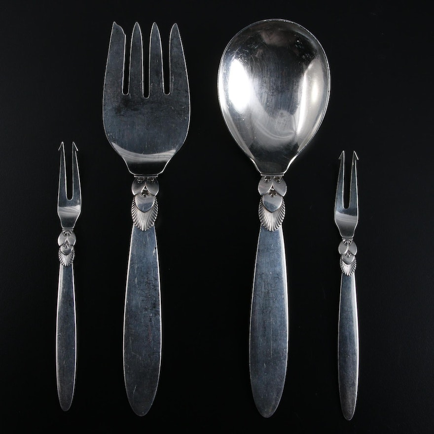 """Georg Jensen """"Cactus"""" Sterling Silver Serving Utensils, Mid to Late 20th Century"""