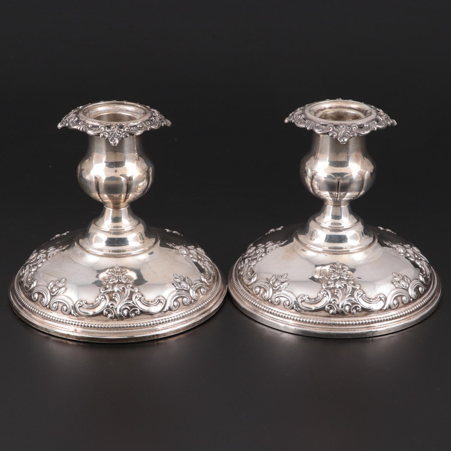 """Wallace """"Grand Baroque"""" Weighted Sterling Silver Candlesticks"""