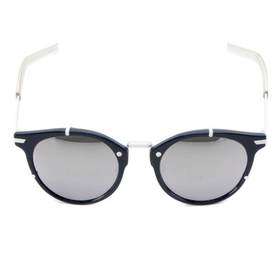 Dior Homme 0196S Black and White Sunglasses with Silver Mirrored Lenses