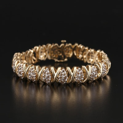14K 4.90 CTW Pavé Diamond X and O Bracelet
