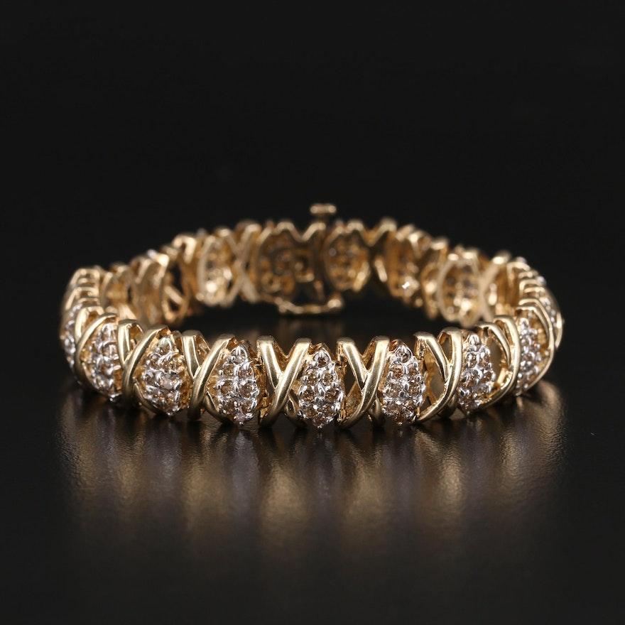 14K 4.90 CTW Pavé Diamond X and O Bracelet
