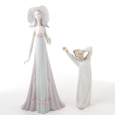 "Lladró ""Debutante"" and ""Boy Awaking"" Figurines, Late 20th Century"