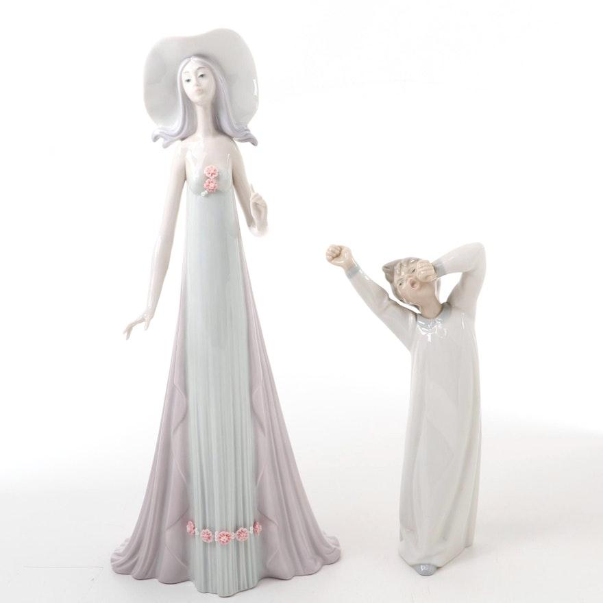 "Lladró ""Debutante"" and ""Boy Awaking"" Figurines, Late 20th Century"
