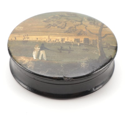 Georgian Hand-Painted Papier-Mâché Lacquerware Table Snuff Box, Antique