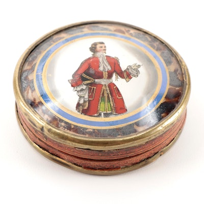 French Bonbonnière Box with Églomisé Portrait Lid, Mid to Late 19th Century