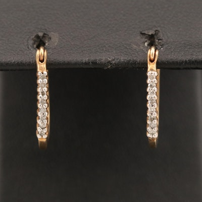 10K Diamond Oval Hoop Earrings