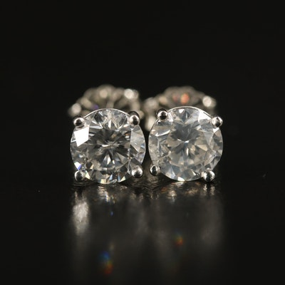 Platinum 2.09 CTW Diamond Stud Earrings with GIA eReports