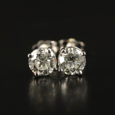 Platinum 1.41 CTW Diamond Stud Earrings with GIA eReports