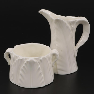 "Royal Worcester ""Fern Leaf"" Bone China Creamer and Open Sugar Bowl"