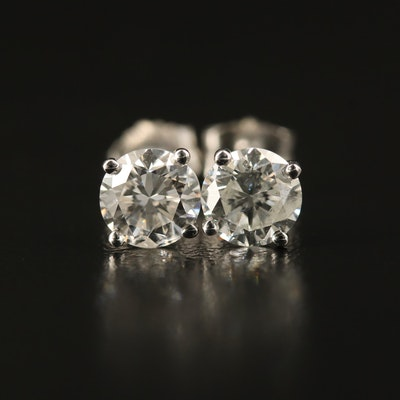 18K 1.40 CTW Diamond Stud Earrings with GIA Dossier and eReport