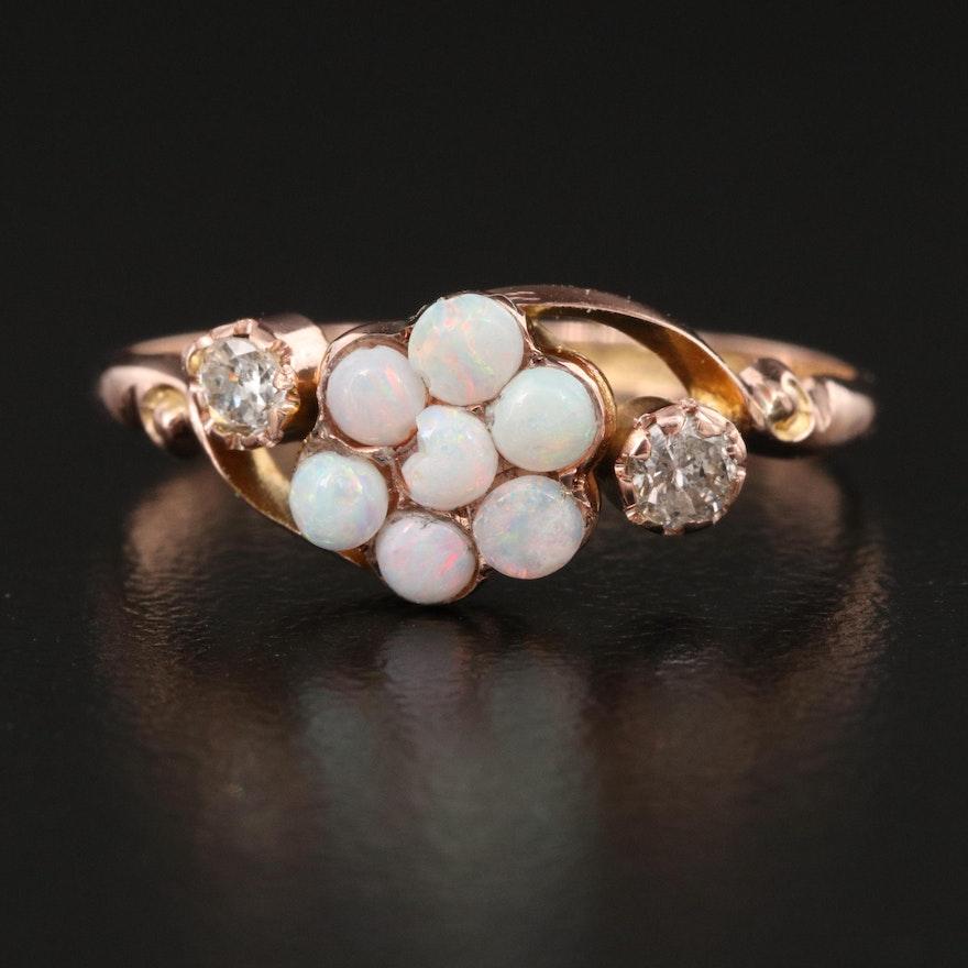 Circa 1913 English 9K Opal and Diamond Cluster Ring