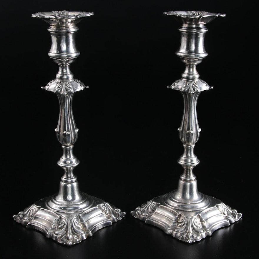 Elkington & Co. English Silver Plate Candlesticks, 1858–1859