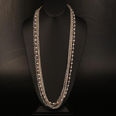 David Yurman Sterling Pearl and Multi-Strand Necklace Including 18K