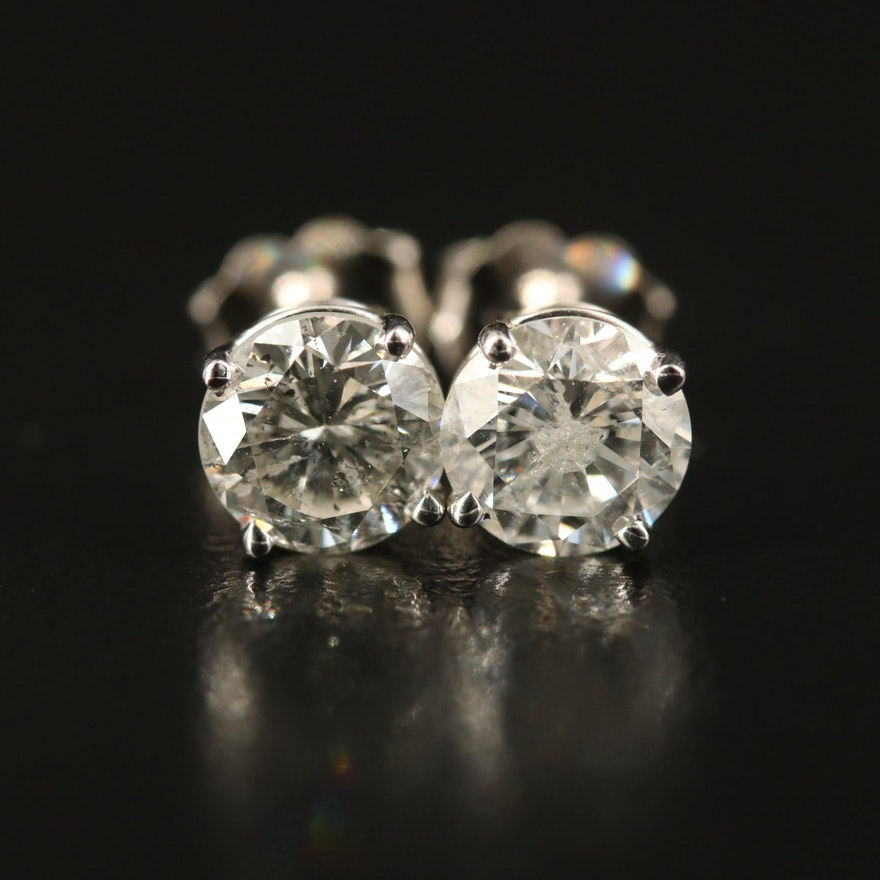 18K 2.11 CTW Solitaire Diamond Stud Earrings with GIA Dossier and eReport