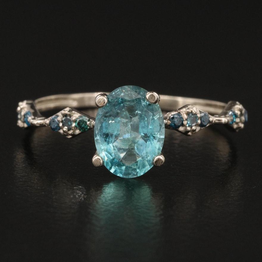 14K Apatite and Diamond Ring