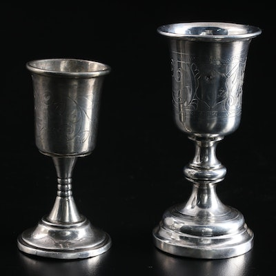 Russian Chased 800 Silver Liqueur Glasses, 19th Century