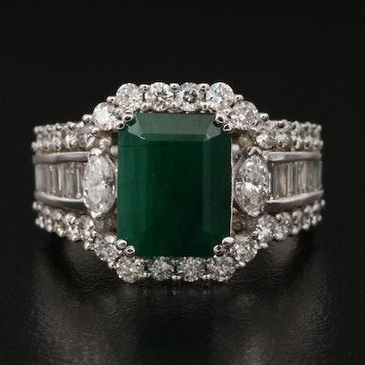 EFFY 14K 2.95 CT Emerald and 1.68 CTW Diamond Ring