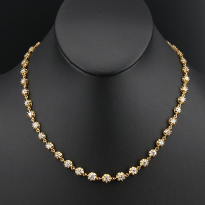 Vintage 18K 7.86 CTW Old Mine Cut Diamond Rivière Necklace