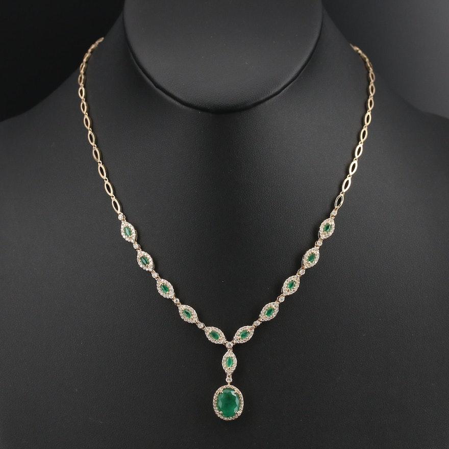 EFFY 14K 2.33 CTW Emerald and 1.44 CTW Diamond Lavalier Necklace
