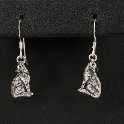 Southwestern Style Sterling Silver Howling Coyote Earrings