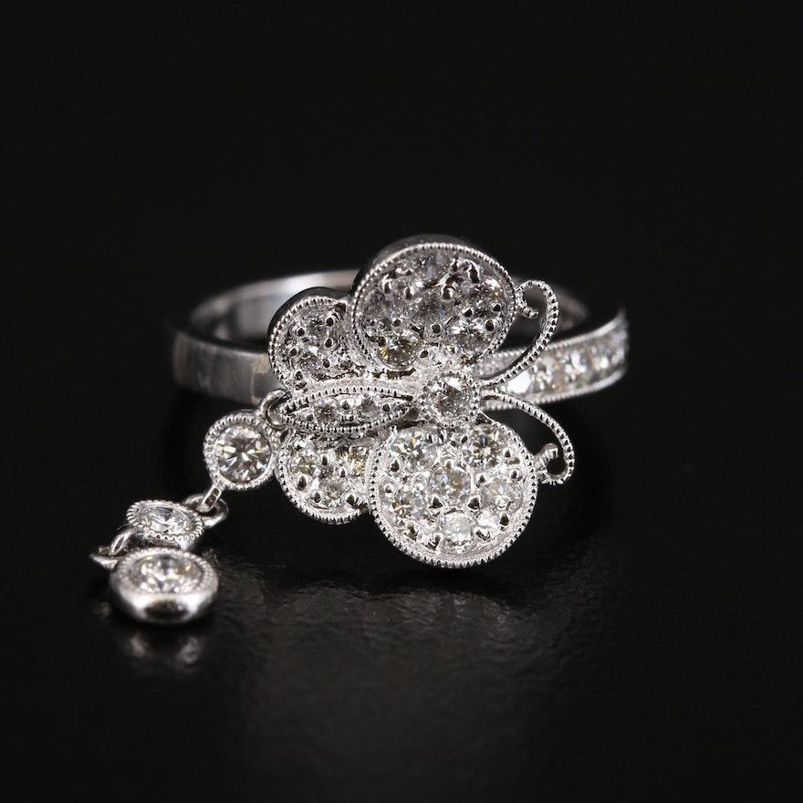 14K Diamond Milgrain Butterfly Charm Ring