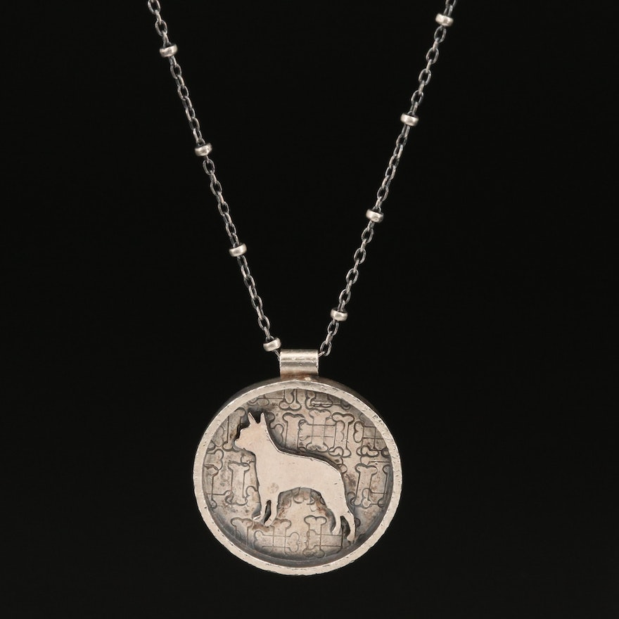 Sterling Silver Beaded Station Necklace and Boston Terrier Pendant