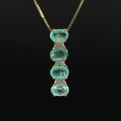 10K Emerald and White Zircon Line Necklace