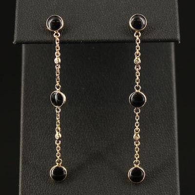 EFFY 18K Black Onyx and Diamond Drop Earrings