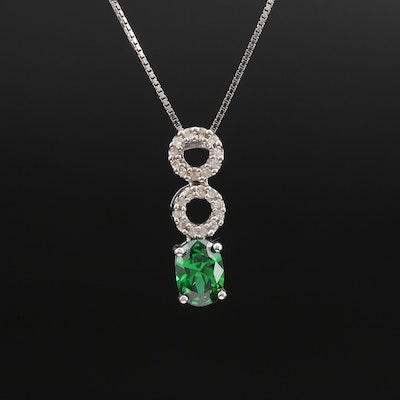 10K Cubic Zirconia and Diamond Circle Pendant Necklace