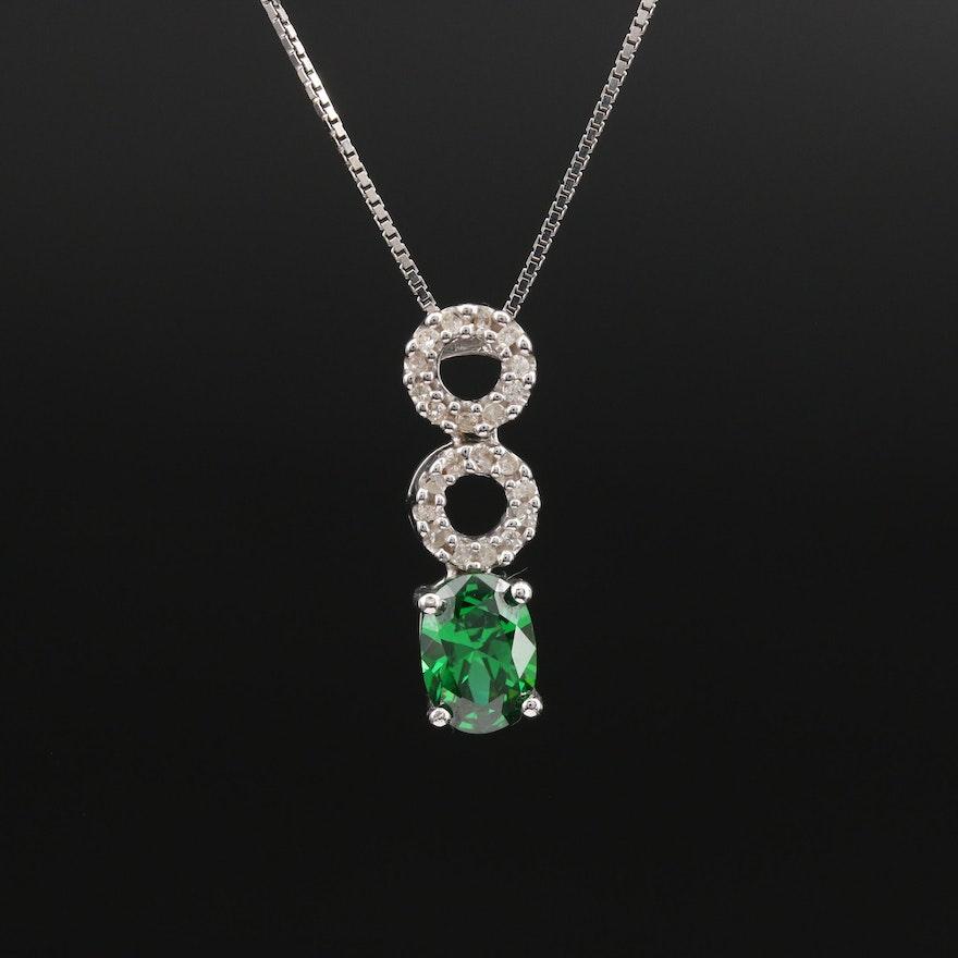 10K Cubic Zirconia and Diamond Circle Pendant Necklace